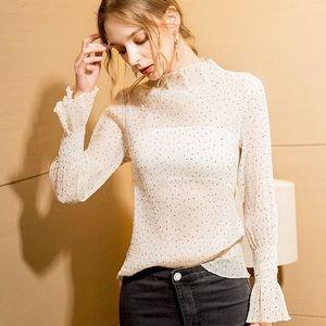 White thin black dots long sleeves blouse